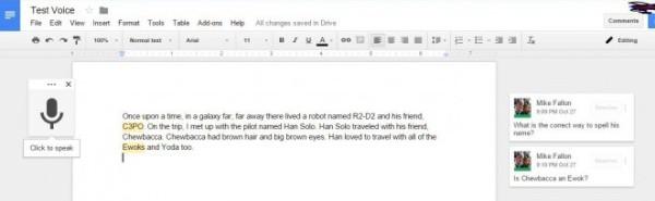 Dictate in Google Docs