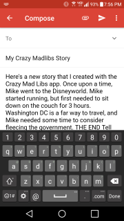 It auto-inserts the story to an email client.